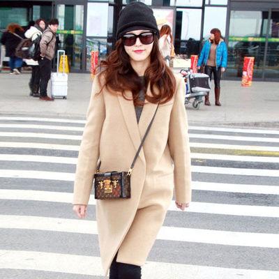 唐嫣同款驼色羊毛呢大衣女2020秋冬新款韩版中长款修身毛呢外套