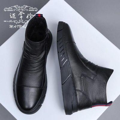蜘蛛王马丁靴男鞋秋季英伦风高帮皮鞋子男韩版潮流百搭冬季棉鞋男