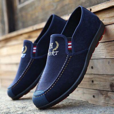 新款老北京布鞋男鞋帆布鞋一脚蹬豆豆鞋防滑耐磨舒适休闲单鞋
