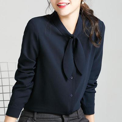 69495/2021春季雪纺衬衫女长袖气质设计感小众高端正装上衣洋气职业衬衣
