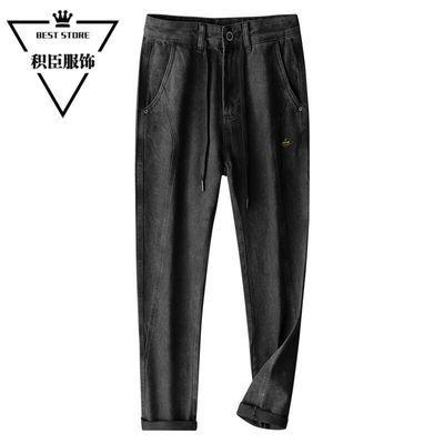 黑色牛仔裤男织带装饰宽松哈伦裤网红牛仔长裤潮牌痞帅九分裤男