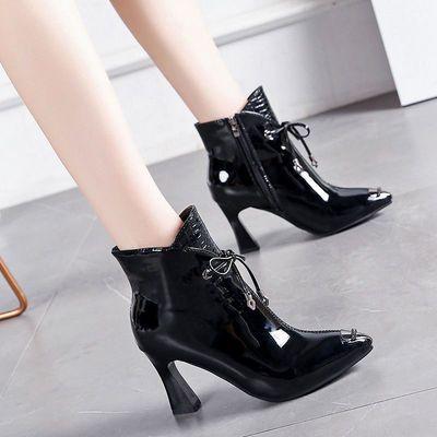 欧美短筒女靴秋冬新款尖头马蹄高跟女鞋酒红色短靴女软漆皮马丁靴