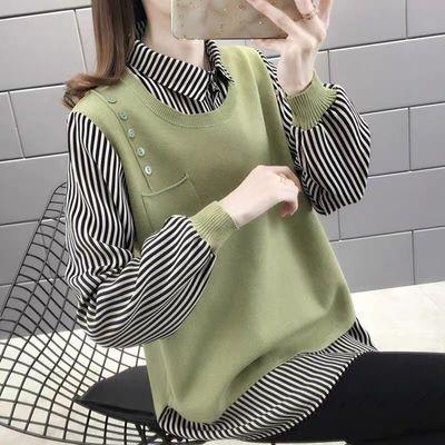 69997/春秋新款2021女毛衣假两件宽松上衣潮流百搭套头衬衫领拼接针织衫