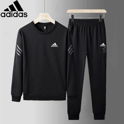秋季新款阿迪休闲运动套装男装三叶草大码长袖圆领卫衣跑步两件套