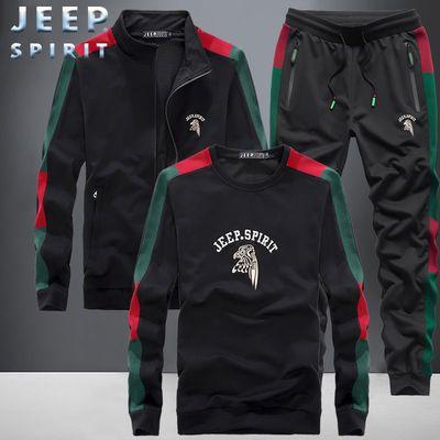 JEEP吉普秋季新款运动套装男士韩版圆领卫衣中青年休闲帅气两件套