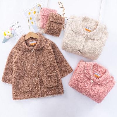 女童秋冬装羊羔毛外套2020新款女孩韩版褂子中小儿童洋气加绒风衣