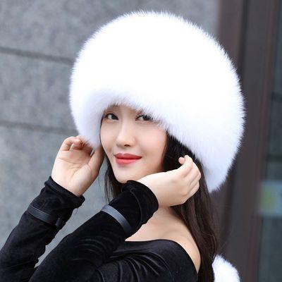 狐狸毛帽子女冬季仿皮草公主帽子时尚俄罗斯风情帽护耳新款蒙古帽