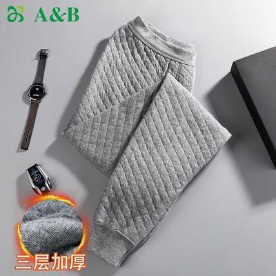 A&Bab内衣保暖裤男士棉裤精梳棉三层加厚中老年男秋裤T865