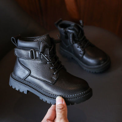 74327/男童真皮马丁靴2021秋冬款儿童黑色靴子男孩单靴宝宝短靴加绒英伦