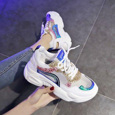 透气网面老爹鞋女夏2020新款网红亮片镂空松糕厚底百搭运动凉鞋潮