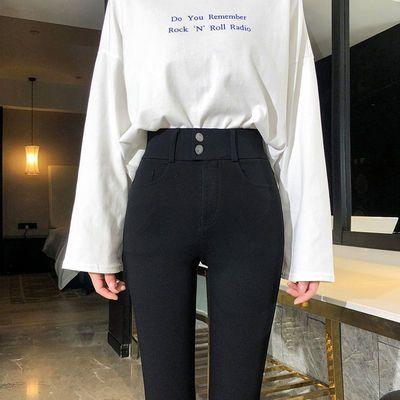 黑色打底裤女外穿春秋季薄款高腰显瘦小脚学生铅笔紧身魔术裤百搭