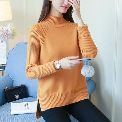 高领毛衣女秋冬季宽松套头打底衫秋装新款女加厚针织衫短款女外套