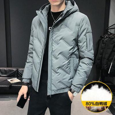 2020新款男士轻薄款连帽羽绒服男短款潮流反季冬季外套白鸭绒袄子