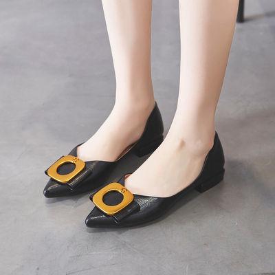 VICTORIA&VERA舒适浅口单鞋女百搭平底鞋子时尚饰扣女士单鞋三十