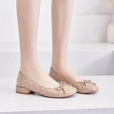VICTORIA&VERA2020秋款舒适女鞋甜美蝴蝶结简约平跟方头奶奶鞋女