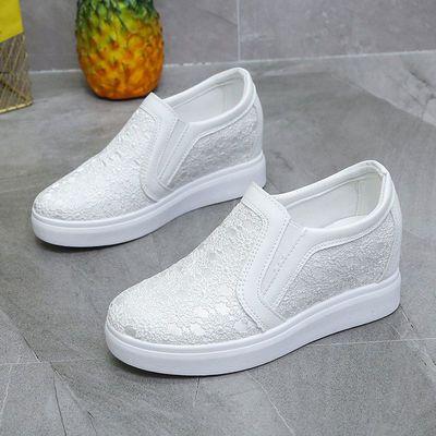 网鞋女内增高厚底小白鞋子女士妈妈凉鞋春秋夏季新款平底休闲透气