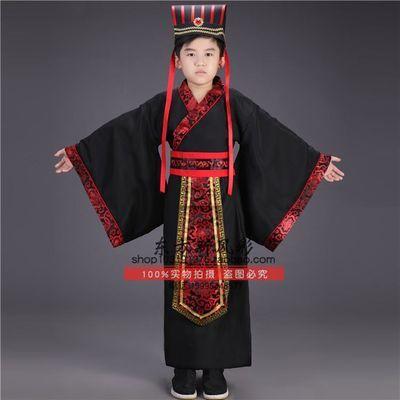 儿童古装汉服男童表演出服装战国秦汉朝丞相大臣官服摄影写真方帽