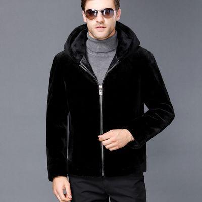 秋冬装羊剪绒男皮毛一体海宁皮草大衣保暖外套厚皮衣男士短款连帽