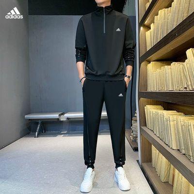 阿迪春秋季新款男士运动套装休闲宽松跑步服青少年潮流帅气两件套