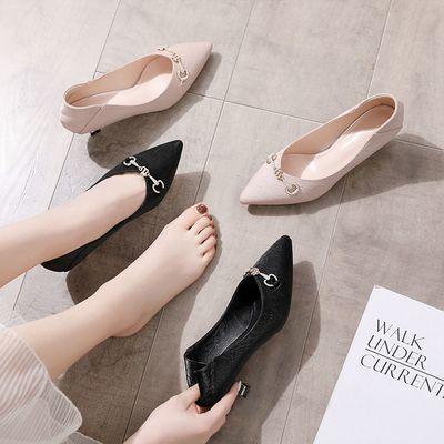 VICTORIA&VERA通勤百搭职业女单时尚女单鞋浅口高跟鞋中跟单鞋女
