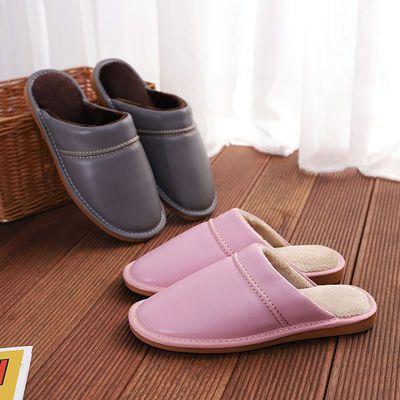 皮拖鞋男冬季居家居室内加绒保暖女冬防水防滑厚底情侣家用棉拖鞋