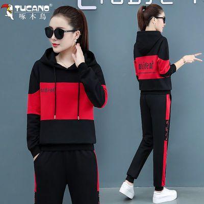 啄木鸟运动套装女2020秋季新款宽松大码显瘦休闲服洋气减龄两件套