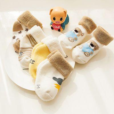 婴儿袜子秋冬款加厚儿童全棉0-1-3岁6-9个月新生儿宝宝松口毛圈袜