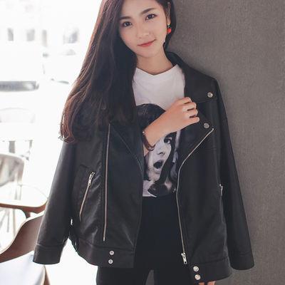 韩版港风宽松机车pu皮衣女短款休闲小皮夹克学生2020新款秋冬外套