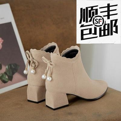 短靴女鞋2020新款潮高跟鞋女春秋季百搭成熟粗跟棉鞋女冬加绒保暖