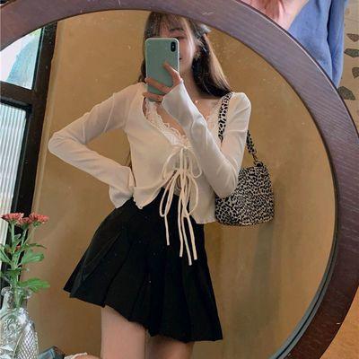 防晒短款绑带V领针织上衣女夏季冰丝小开衫薄款长袖外套蕾丝吊带