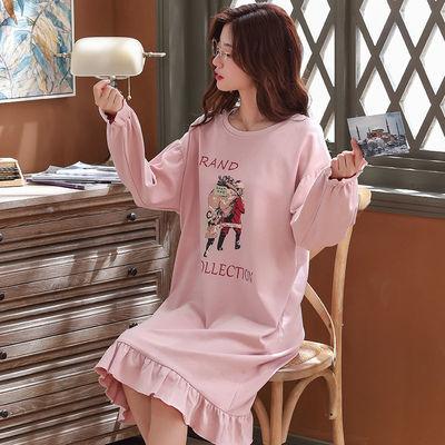 睡裙女春秋季优质棉长袖宽松家居服秋冬胖mm200斤网红长款过膝裙