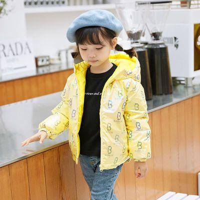 新款儿童羽绒服男童女童炫彩印花亮面宽松时尚外套中小童加厚冬装