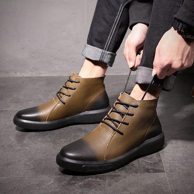 2020秋冬新款男士中帮英伦风马丁靴真皮系带加绒休闲潮流短靴子男