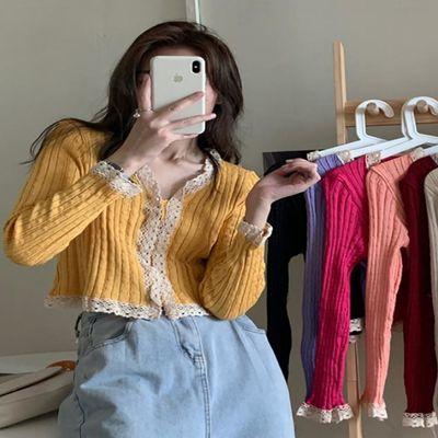 秋装2020新款网红蕾丝v领薄款长袖针织开衫毛衣外套女短款上衣潮