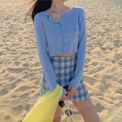 长袖针织空调衫女夏季洋气外搭薄款冰丝BM风短款防晒开衫法式上衣