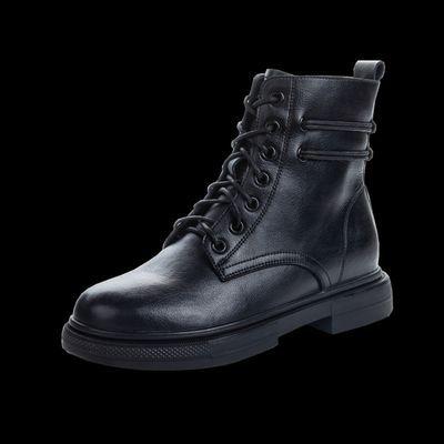 2020年新款马丁靴女春秋单鞋平底舒适潮ins英伦风真皮增高中筒靴