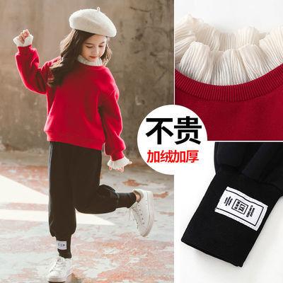 女童套装秋冬装2020新款韩版网红超洋气两件套中大加绒加厚儿童装