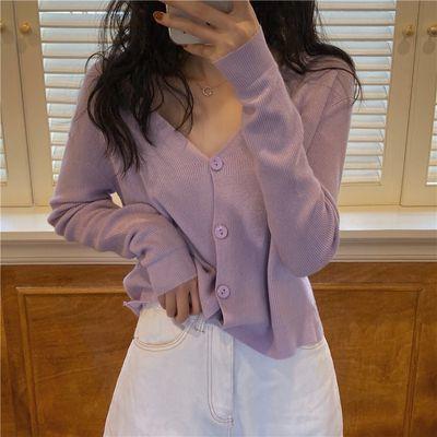 长袖防晒针织衫女夏季2020新款韩版宽松V领外搭开衫上衣小外套潮