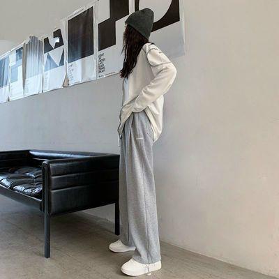灰色运动裤女宽松直筒束脚裤高腰垂感休闲百搭显瘦春秋季阔腿长裤