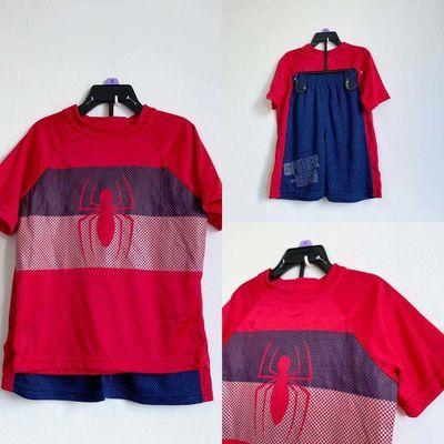 男童复仇者联盟速干衣4-8岁夏装宝宝短袖做旧风格蜘蛛侠儿童一套