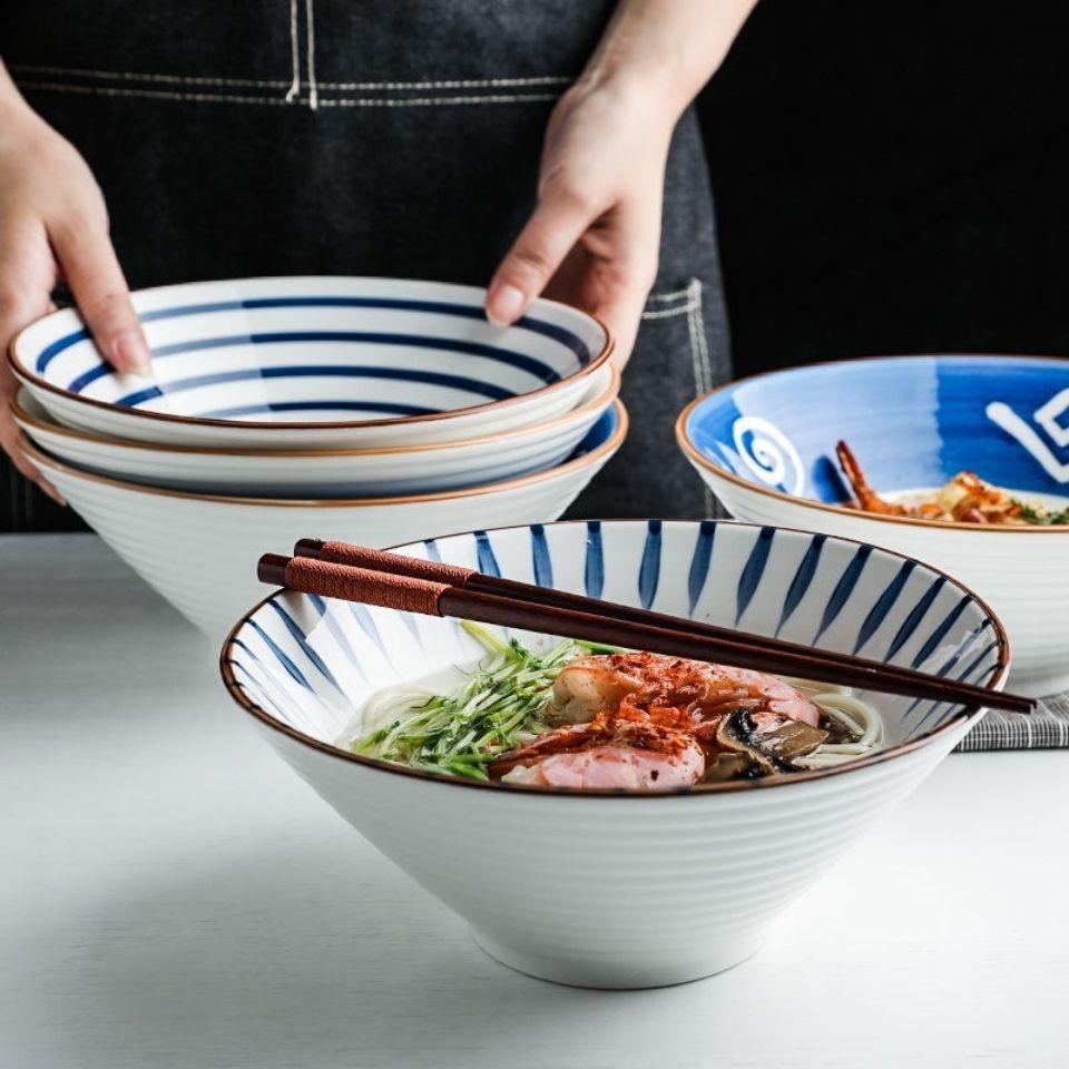 日式陶瓷大汤面碗家用牛肉面碗拌面泡面拉面碗复古水果沙拉碗餐具