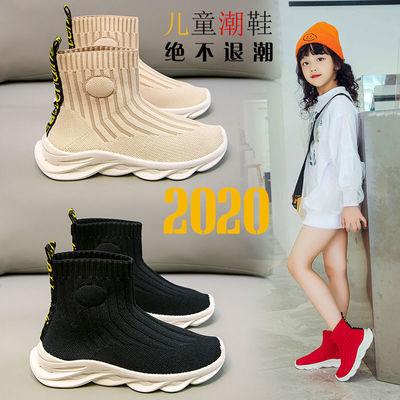 儿童中帮袜子鞋2020秋冬款女童高帮休闲针织鞋男女童时尚靴子棉靴
