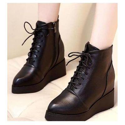 欧斯福坡跟高跟皮棉靴系带女短靴高跟皮鞋内增高简约踝靴工作鞋