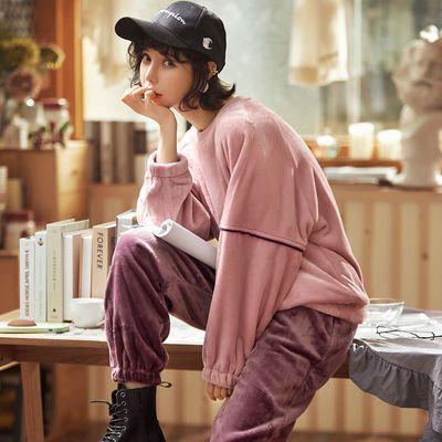 睡衣女春秋冬季加厚加绒可外穿珊瑚绒法兰绒甜美可爱女学生家居服