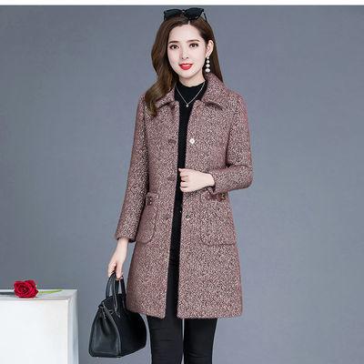 中长大衣外套女式呢子修身貂绒显瘦韩版新款大码驼色仿中长款水貂