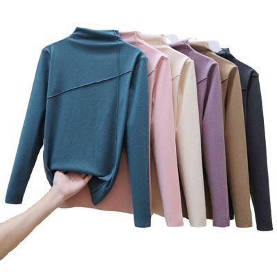 双面德绒阳离子自发热保暖衣女秋冬大码高领打底衫长袖外穿t恤女