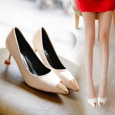 单皮鞋女平底高跟鞋红色细跟秋冬秋季皮鞋女中跟白色皮鞋女圆头