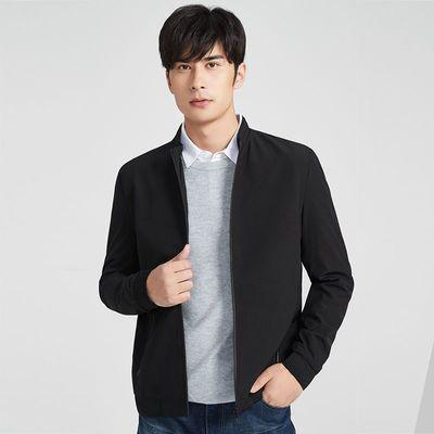 红豆相思鸟20新品立领锦纶暗纹拉链短款外套上衣男式夹克