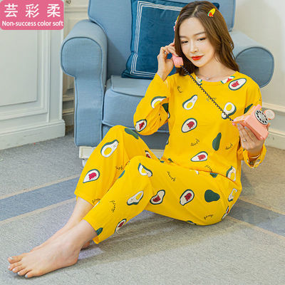新款睡衣女春秋季长袖清新可爱甜美宽松大码胖MM卡通学生长裤套装