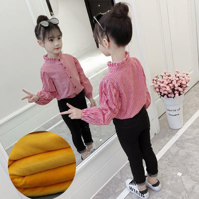 涂巴兔品牌童装女童衬衫2020春秋新款儿童时尚复古简约长袖衬衫